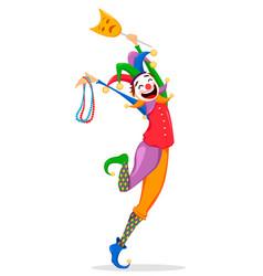 Mardi gras jester in a mask vector