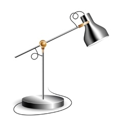 Metal table lamp with joint and shiny chrome shade vector