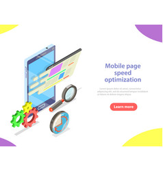 Mobile page speed optimization isometric vector