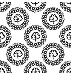 Monochrome background with abstract plants vector