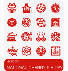 National cherry pie day icon set vector
