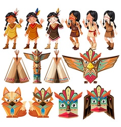 Native american indians and traditional craft set vector