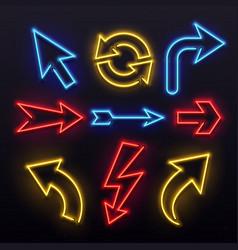 Neon light arrows colorful bulb lines arrow vector