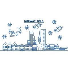 Norway oslo winter city skyline merry christmas vector