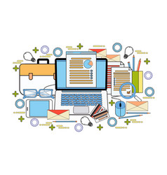 office workplace computer desktop with finance vector image