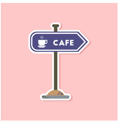 paper sticker on stylish background cafe sign vector image