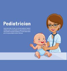 Pediatrician and baby cartoon vector