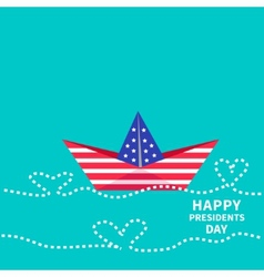 Presidents Day background Paper boat with heart vector image