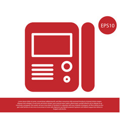 Red house intercom system icon isolated on white vector