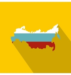Russia flag map icon flat style vector image