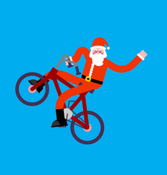 santa claus on bicycle bmx happy new year vector image