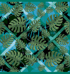 seamless monstera leaves pattern vector image