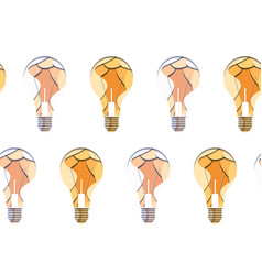 seamless pattern of 3d bulbs cut from paper on vector image
