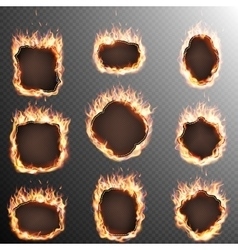 Set of 9 Fire labels template EPS 10 vector image