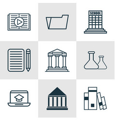 set of 9 school icons includes academy home work vector image
