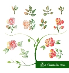 Set of decorative color elements roses and leaves vector image