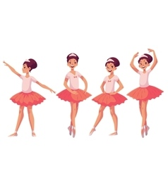 Set of graceful pretty young ballerinas in pink vector image