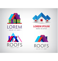 set of houses real estate building logos vector image