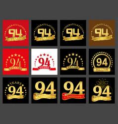 set of number ninety-four 94 years celebration vector image