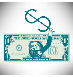 simplified and stylized dollar bill with george vector image