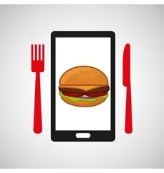 Smartphone order hamburger food online vector