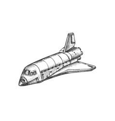 space exploring ship shuttle monochrome vector image