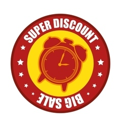super discount big sale clock label vector image