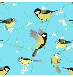 Titmouse pattern with flowers vector