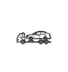 tow truck with broken car hand drawn outline vector image