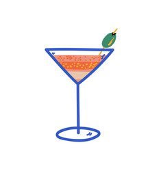 tropical cocktail martini glass with olive vector image