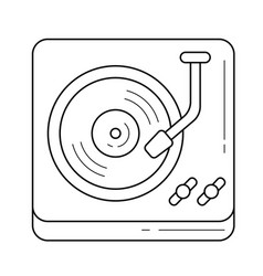 Turntable phonograph line icon vector