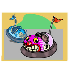 Two funny bumper cars in cartoon style vector