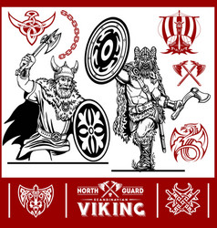 viking warrior with big axes vector image