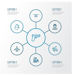 Warfare outline icons set collection weapon vector