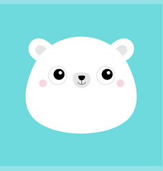 white bear cub face head icon cute kawaii animal vector image