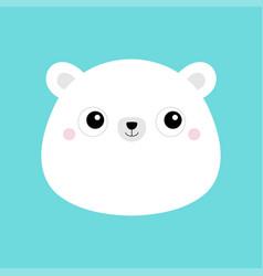 White bear cub face head icon cute kawaii animal vector