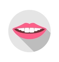 Woman Mouth with white Teeth and red Lips vector