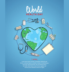 World health day poster with medical equipment vector