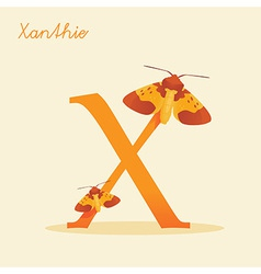 Animal alphabet with xanthie vector image