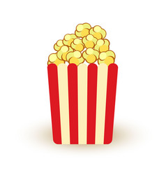 carton bowl full of popcorn icon vector image vector image