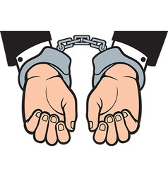 Hands in hand cuffs vector image vector image