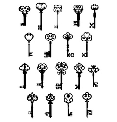 Large set of ornate vintage keys vector image