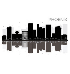 phoenix city skyline black and white silhouette vector image
