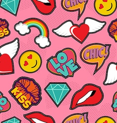 Pink pop art stitch patch seamless pattern vector image