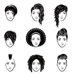 set of stylized logo with beautiful women vector image