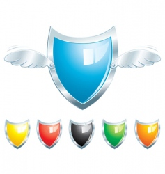 shield with wings vector image vector image