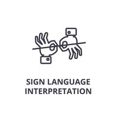 sign language interpretation line icon outline vector image
