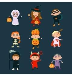 Children Wearing Halloween Costumes vector image