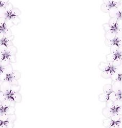 frame template blooming sakura blue flowers vector image