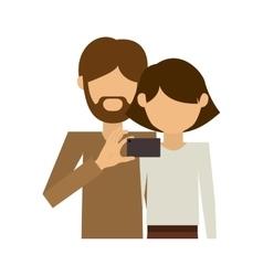 Half body couple where man of beard take selfie vector